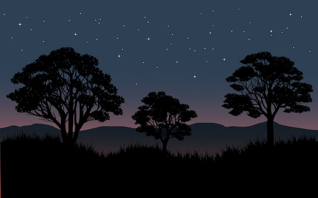 Starry sky over forest with tree silhouette