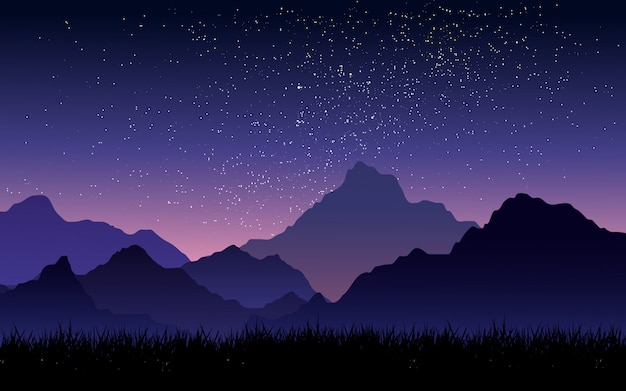 Starry sky over mountain with gradient sky