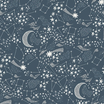 Starry sky seamless pattern dark