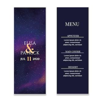 Starry sky wedding menu