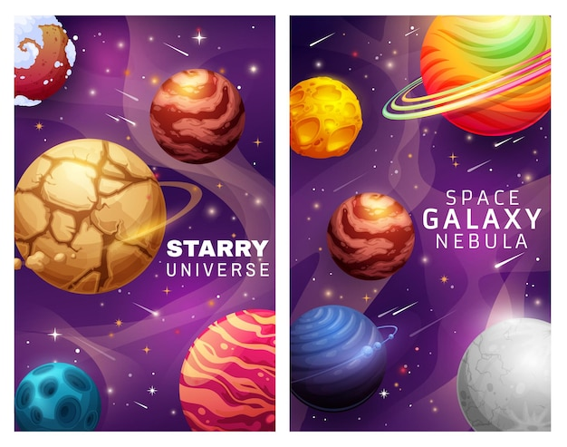 Starry universe and space galaxy nebula landscape cartoon posters with planets and stars vector design. alien cosmic world with falling comets and shining stars, space exploration fantastic background