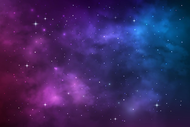 星空の宇宙、宇宙銀河星雲、星と星屑。青と紫のリアルな星雲と輝く星と宇宙背景放射をベクトルします。カラフルな宇宙無限、夜空の壁紙の背景
