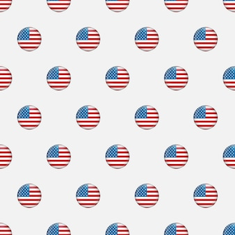 星と縞模様のシームレスなパターン。アメリカ独立記念日お祝いのベクトル反復可能なテクスチャは、アメリカの旗に基づいています。メモリアルデーの背景。