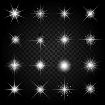 반짝임과 빛나는 조명 효과로 별이 폭발합니다. 밝은 세트, 터지는 폭죽 반짝임,
