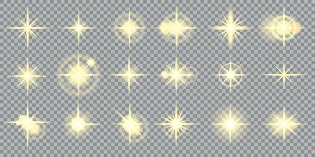 星は黄色の輝きと輝く光の効果を爆発させます