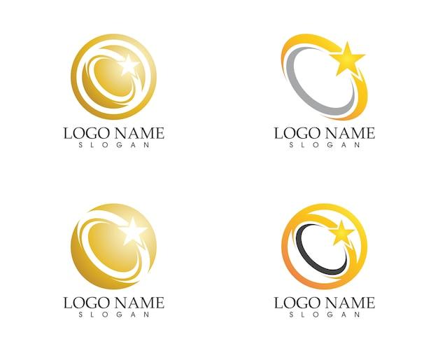 Stars circle logo design vector template