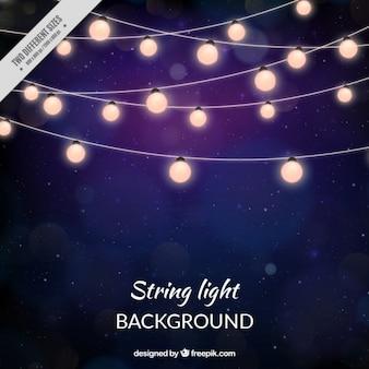 Stars dark background of string lights