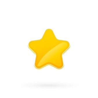 Плоский значок звезды. золотая звезда. значок блестящие золотые звезды