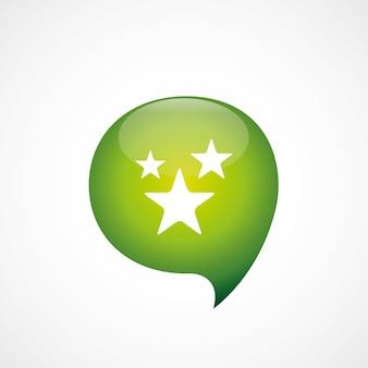 星アイコン緑の思考バブルシンボルロゴ、白い背景で隔離