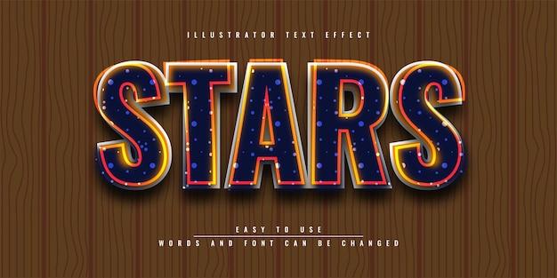 Редактируемый дизайн шаблона 3d текстового эффекта stars illustrator