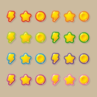 Stars, lightning, coins - buttons for the design of the interface and menu of mobile and pc games and applications.