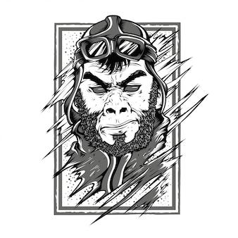 星猿白黒イラスト