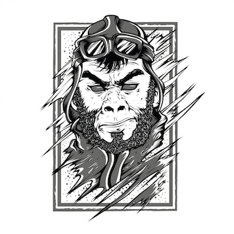 Stars monkey black and white illustration