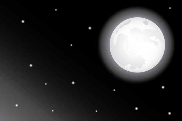 Stars and moon in the night sky background