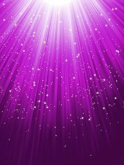 Stars on purple striped background.