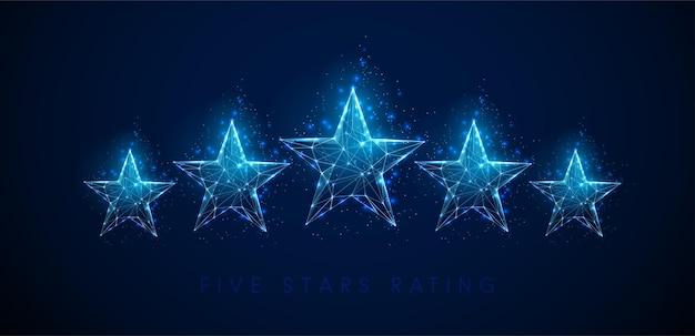 星のレイティング。抽象的な青い星。低ポリスタイル
