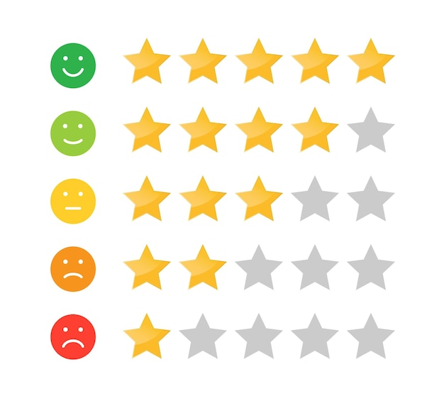 Stars rating icon for website and mobile apps feedback emotion scale customer satisfaction rating