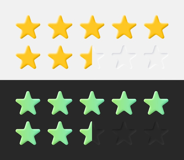 Stars rating icons set 3d neumorphic light and dark style ui ux material design elements