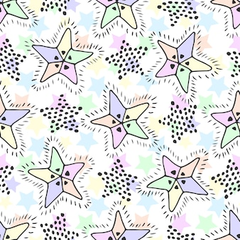 Stars seamless pattern in pastel colors. childish background for textile fabric or wrapping