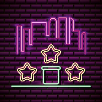 Stars and skyline in neon style, video games related
