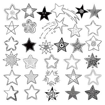 Звезды. космические символы планет элементы рисованной коллекции космические звезды каракули картинки. звездочка и небесный эскиз звездочка