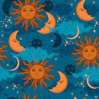 星の太陽と月のシームレスなパターン。グラフィック。