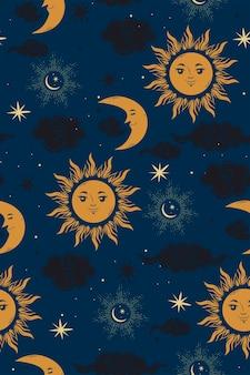 星の太陽と月のシームレスなパターン。