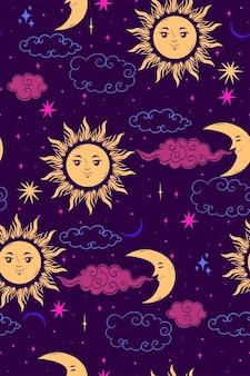 星の太陽と月のシームレスなパターン。 Premiumベクター