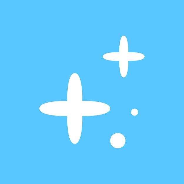 星は青い背景の上のシンプルなスタイルで輝くアイコンをベクトルします