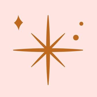 ピンクの背景にフラットブラウンスタイルの星ベクトルスパークリングアイコン
