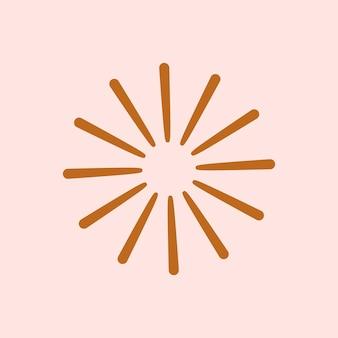 星はピンクの背景にフラットブラウンスタイルの輝くアイコンをベクトルします