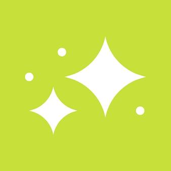 星は緑の背景にシンプルなスタイルで輝くアイコンをベクトルします