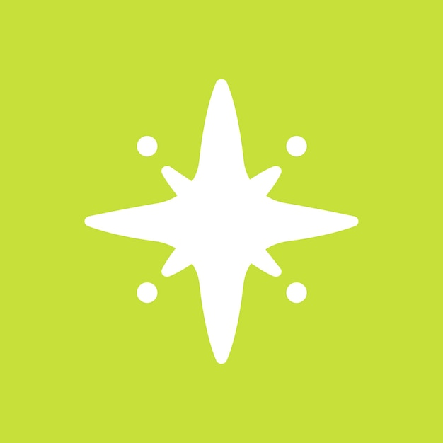 Stars vector sparkling icon in simple style on green background