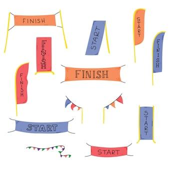 屋外スポーツイベントのバナーまたは旗を開始および終了します。競争レースベクトルイラスト
