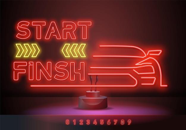 네온 사인을 시작하고 끝냅니다. 어두운 빨간색 배경에 빛나는 네온 밝은 비문. 게임, 컴퓨터 시스템, 대회에 대한 벡터 일러스트 레이 션