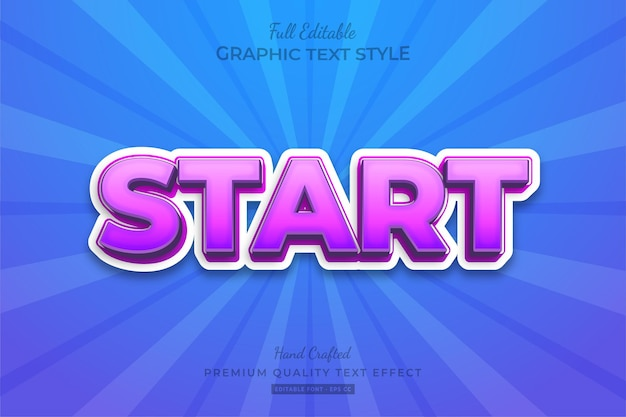 Start bold modern text effect editable premium font style