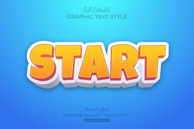 Начать мультяшные игры с редактируемым текстовым эффектом