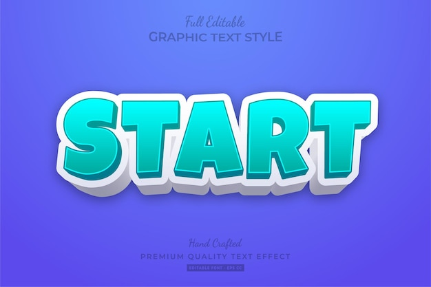 Start cartoon modern bold editable text effect font style