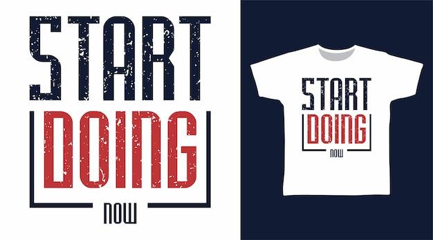 지금 티셔츠 디자인을 위한 타이포그래피 작업 시작