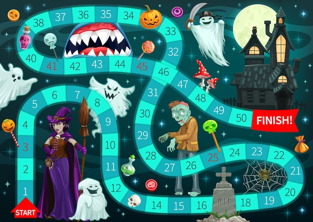 Start to finish board game template with cartoon halloween monsters background