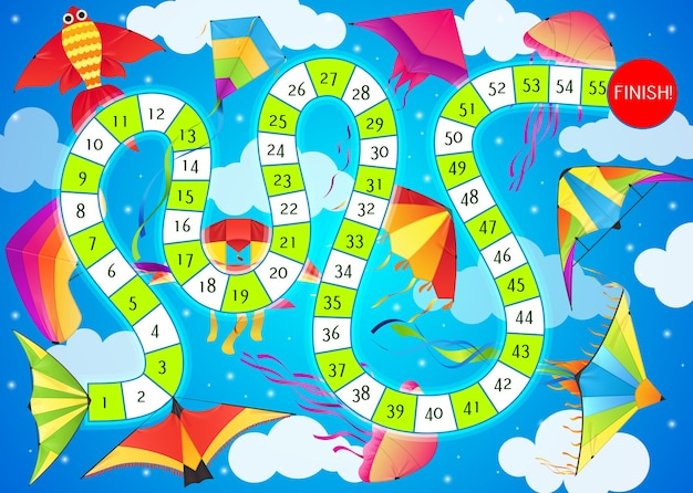 Start to finish children board game template with cartoon kites and route map