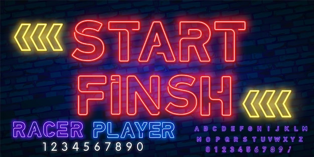 Start - finish neon sign with neon alphabet.