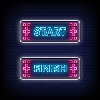 Start and finish neon signs style text