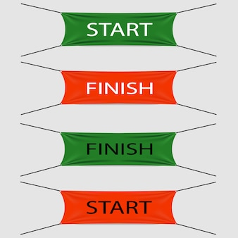 Start and finish textile strips or banners, red or green colors with black or white texts,