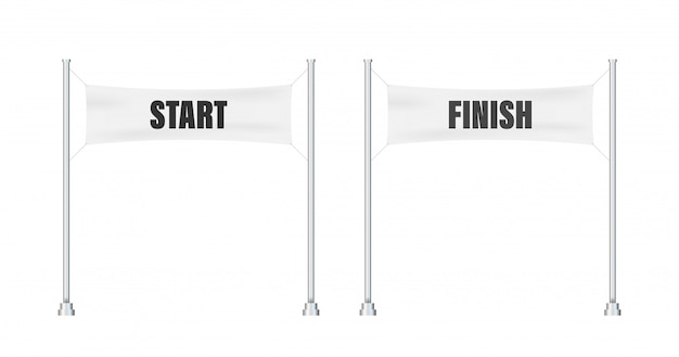 Start finish. winner . flat line cartoon  illustration.