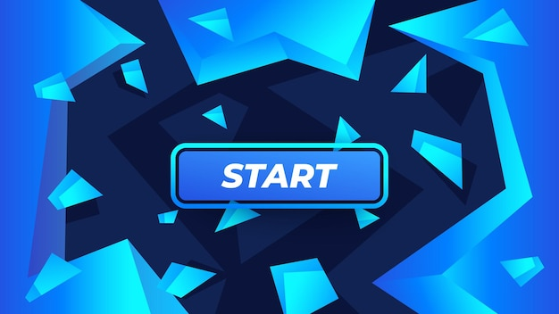 Start game button on abstract background with crystals