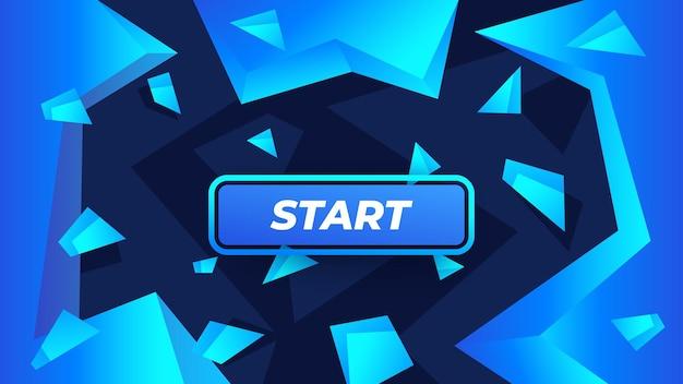 クリスタルで抽象的な背景にゲームボタンを開始します