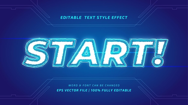 Start game editable 3d vector text style effect. editable illustrator text style.