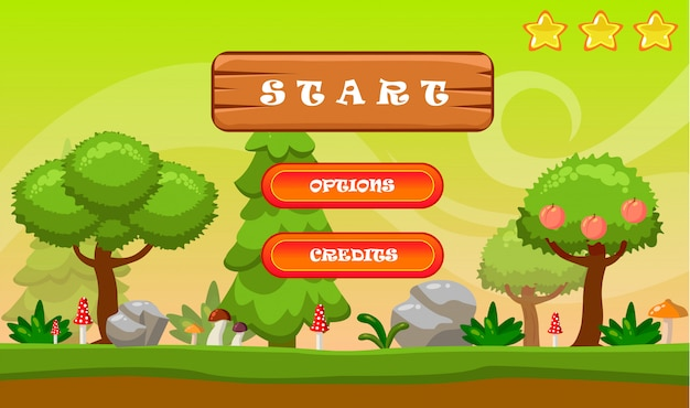 Start game menu, buttons options and credits. cartoon nature landscape