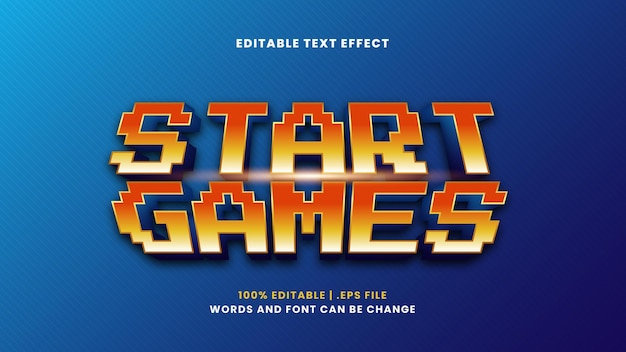 Start games editable text effect in modern 3d style